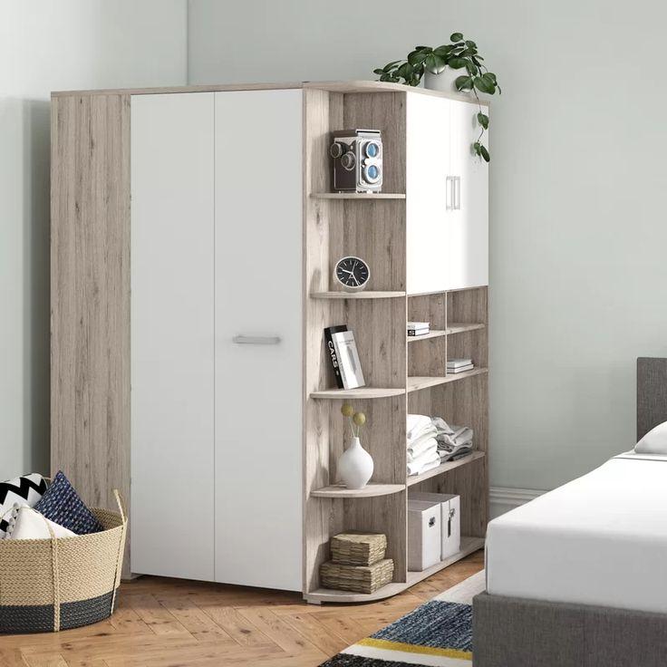 brayden studio petrin 1 door sliding corner wardrobe wayfair co