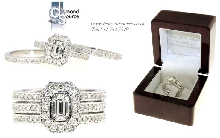 Emerald-cut Wedding Set -  Another one of our most recent commissions featuring an engagement ring with two matching wedding bands. We crafted this set from 18ct. White Gold. The engagement ring is set with a 0.50ct. Emerald-cut diamond. Please email or call us with any queries. FREE QUOTATIONS on any jewellery design you require. E: info@diamondsource.co.za W: www.diamondsource.co.za T: 011 484 7349