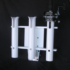 3-Rod Holder $49.99  3 tube rod holders with spaces for tools and knives.  Includes V-Lock insert   Please select whether you would like a standard aluminum, white powder coated aluminum, Starboard or no V-Lock base.