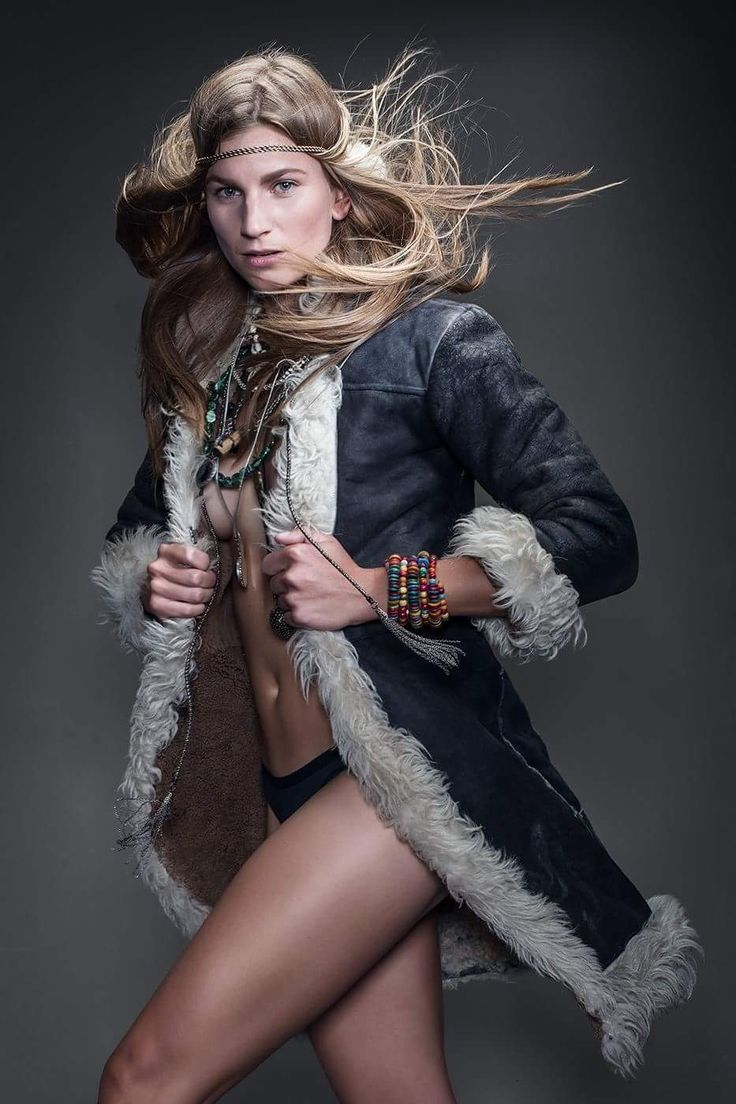 Leather coat and girl in move