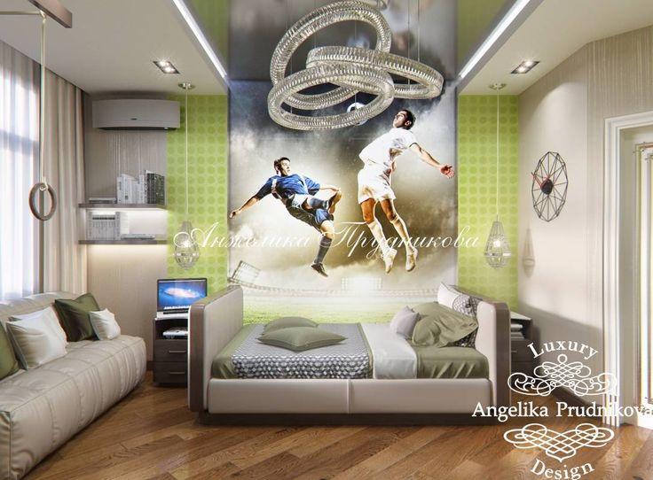 Дизайн интерьера детской комнаты для мальчика на футбольную тему. Фото интерьера