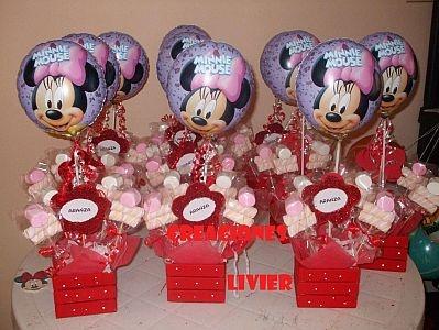 Muy Ameno: Fiestas Infantiles, Decoración Minnie Mouse, Centros de Mesa