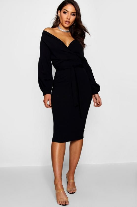 2e12f5c713 Off the Shoulder Wrap Midi Dress