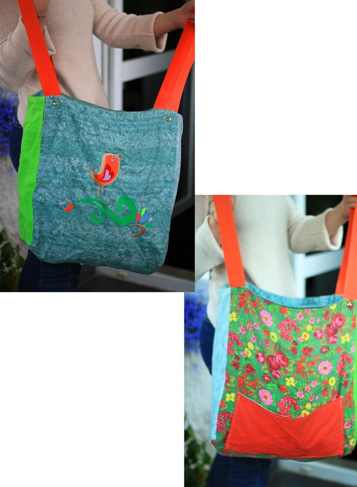 casual bag SPRING BIRD, embroidered