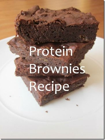Protein Brownies Recipe - brownies made with chocolate protein powder, almond butter, and stevia.