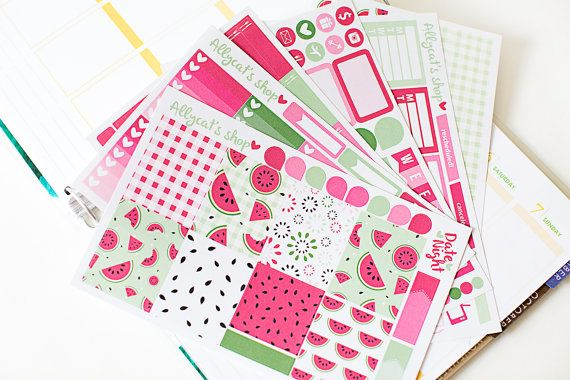 Watermelon Large planner sticker kit. Packed full of fun and functional planner stickers that are sized to fit in the Vertical Erin Condren Life…