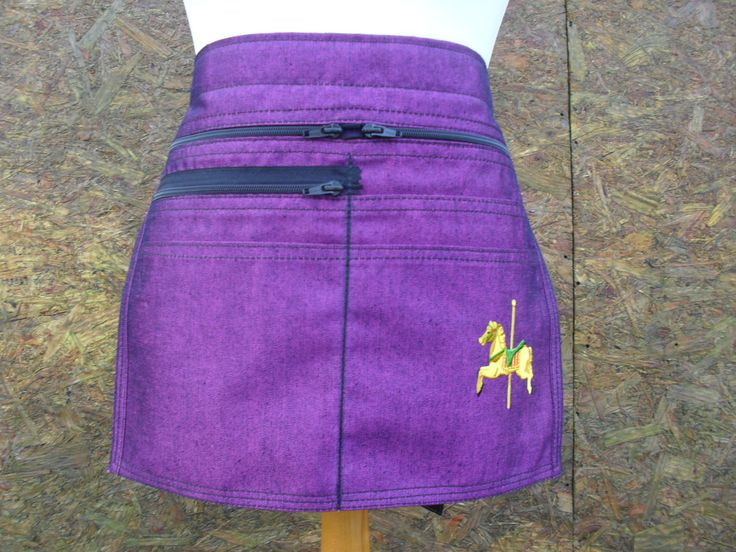 Two tone Pink / Purple - Denim Market Trader money pocket / Vendor Money Pocket / Vendor Money Apron with embroidered carousel horse. by LDCcreations on Etsy