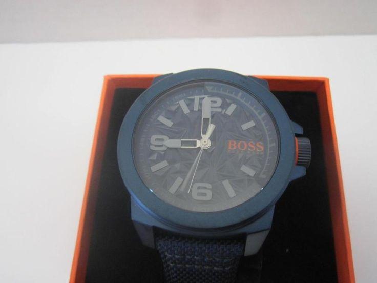 Hugo Boss Orange Watch With Navy/Orange Fabric Strap NIB Grey Dial Mens Watch #HUGOBOSS #watch #menswatch