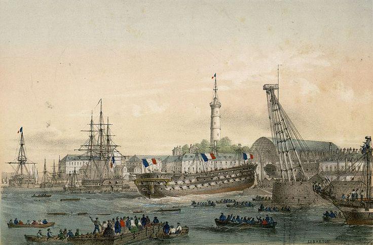 Lithographie de l'intérieur du port militaire de Lorient