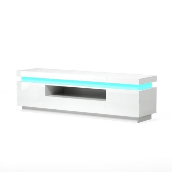 TV avec blanc contemporain laqué brillant Meuble FLASH LED cqS54AL3Rj