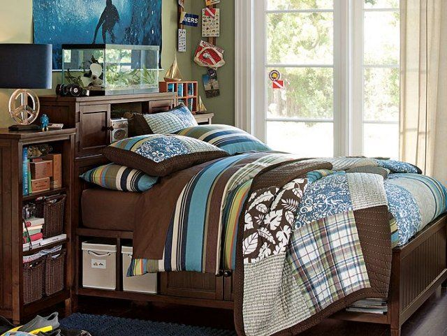 amenagement-chambre-ado-garçon-poster-thème-océan-literie-bleu-marron