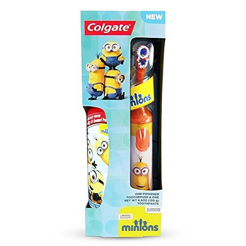 Colgate Minions Powered Toothbrush And Toothpaste Colors My Vary  1 Colgate Minions Children's Powered Electric Toothbrush  1 Colgate Minions Children's Toothpaste 4.6 oz.  Colors Of Powered Toothbrush head will vary, orange, yellow, blue  Electric Toothbrushes Are Great For Children's Dental Care  Slim Handle Is Easy That Encourages Kids To Brush Their Teeth For Fun!
