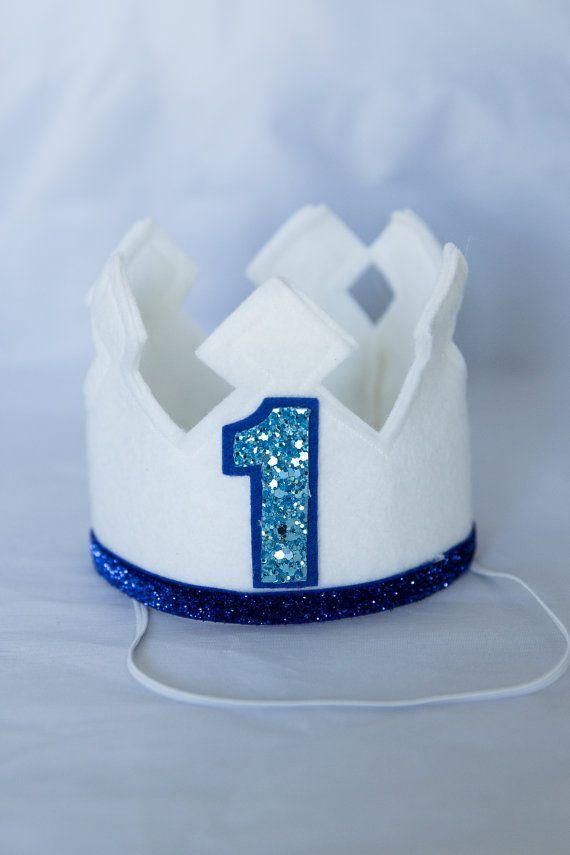 Blanc premier anniversaire se sentait Couronne, Couronne senti, Birthday Boy Couronne, smash de gâteau, 1er anniversaire, prop photo, anniversaire, anniversaire de bébé