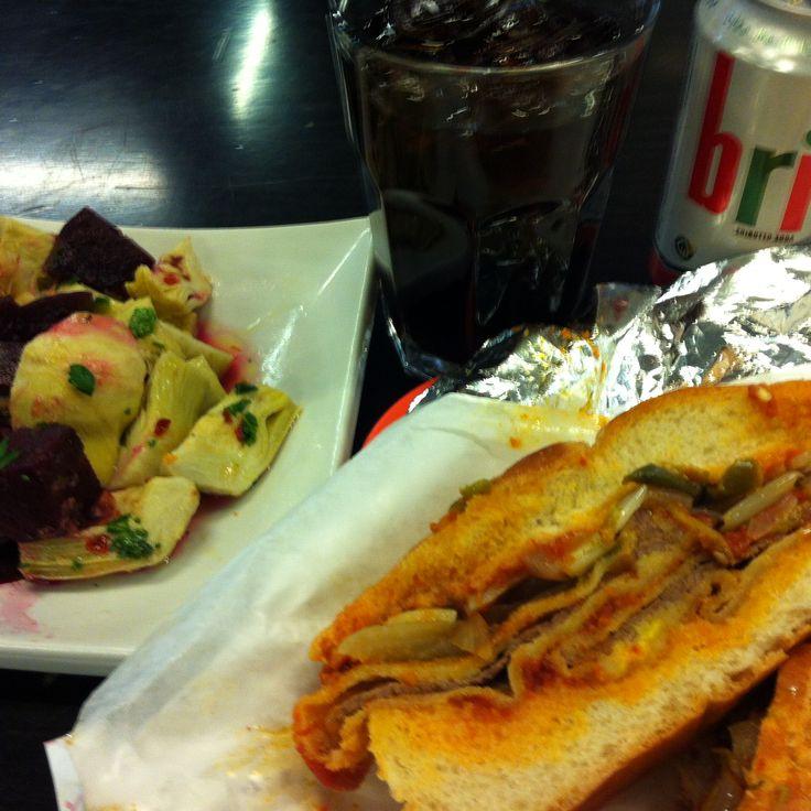 Veal sandwich and artichoke salad at California Sandwiches, Toronto.