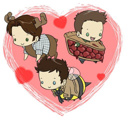 HAHAHAHA!! oh my gods!!! dean is pie. literally. Like he is pie...... I wonder how long it will take him to eat out of his own costume If he made it out of actual pie! Sammy looks cute as ever and Cas...... ^w^ Cas just keep being freakin' adorable.... <3 supernatural cartoon - Google Search