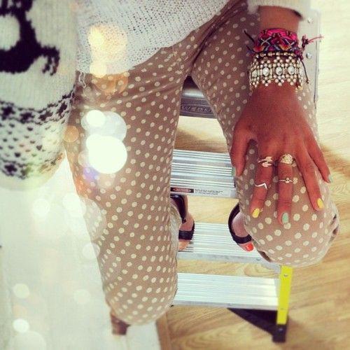polka dot pants: Polka Dots Pants, Arm Candy, Fashion, Polka Dot Pants, Style, Knuckle Rings, Jewelry, Polka Dots Jeans, Polkadots