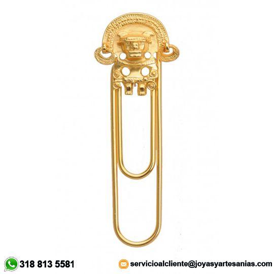 Clip Separador de hoja zoomorfo con aretes tairona baño en oro de 24k, #joyasprecolombinas