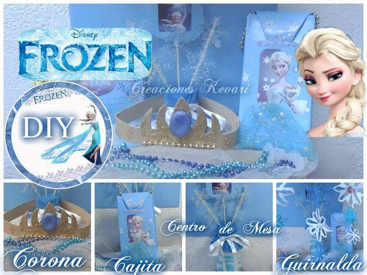 DIY Fiesta de Frozen (Centro de Mesa,Bolsita o Dulcero,Guirnaldas,Corona e Invitación) | KevAri
