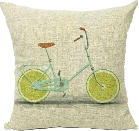 Housse de coussin Bicyclette Fraîcheur citron vert. Apportez du pep's et de l'originalité sur votre canapé grâce à notre collection alliant vélo et agrumes. Une collection tout en fraîcheur et en acidité ! Housse de coussin en coton et lin. Taille 45x45cm. Décor imprimé. Fermeture à glissière discrète.