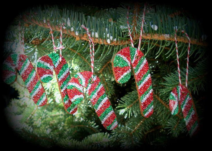 diy cinnamon ornaments, candycanes