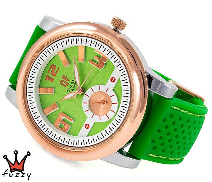 Γυναικείο ρολόι, με ροζ χρυσό και ασημί κάσα και λευκό /πράσινο σε κλασσική γραμμή εσωτερικό καντράν.  Λουράκι σε πράσινο χρώμα από σιλικόνη με πράσινες ραφές. Διάμετρος καντράν 44 mm.