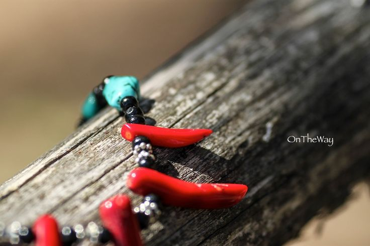 LanguWorld making jewellery. Red Coral and Turquoise.