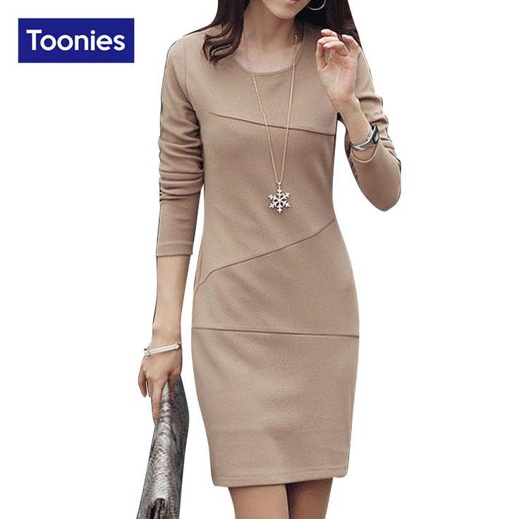 Autumn Warm Winter Package Hip Dress Plus Size Long Sleeve Maxi Ladies Office Dress 2016 Ukraine Women Dresses Work Wear Elegant