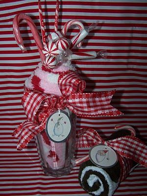 Blizzard of Christmas Treats- fuzzy socks/scarf rolled up into cup to look like ice cream.  Stick cand in the top and attached tag and ribbon