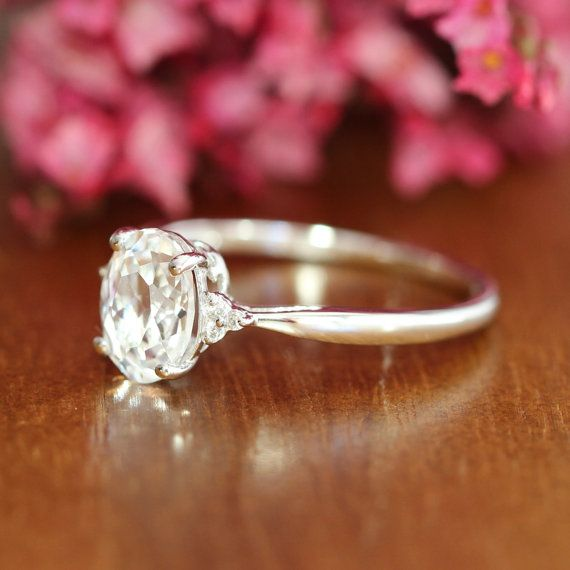 Gold Solitaire White Sapphire Engagement Ring 3 Stone Gemstone
