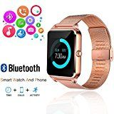 #10: Smart Watch GEEKERA Bluetooth Watch Wristwatch Phone with SIM Card Slot / Touch Screen / Camera for iPhone 6s/6 Plus/5s/5c/4 and Android Samsung Galaxy 6/5/4 Note 4/3/2 Sony HTC LG Huawei (Gold)