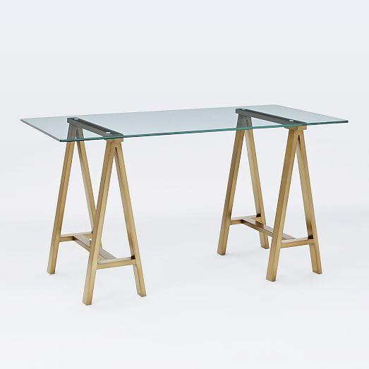 Cross-Base Desk - Blackened Brass   west elm (glass top vanity table)