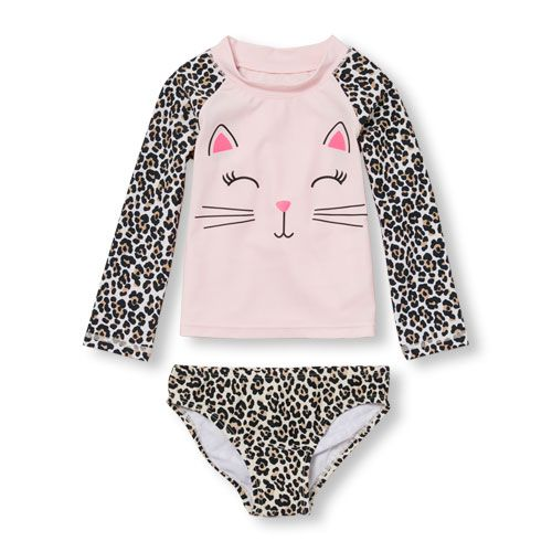 Baby Girls Toddler Long Raglan Sleeve Cat Face Graphic Rash Guard Set - Pink - The Children's Place