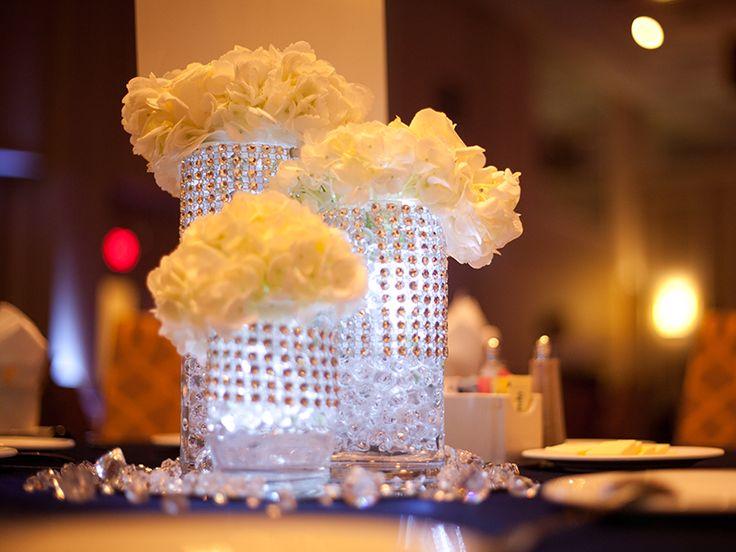 Floral centerpiece for denim and diamonds event for Denim centerpieces
