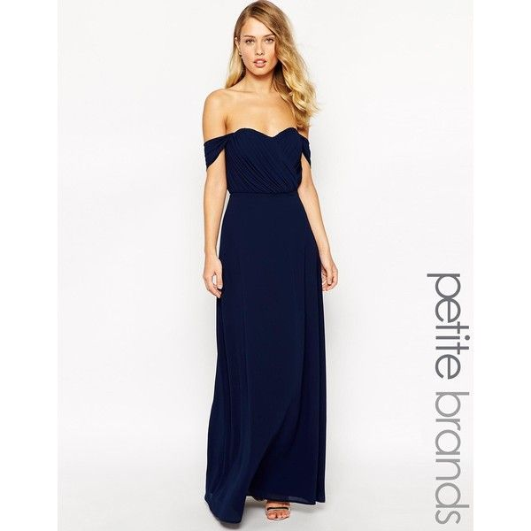Jarlo Petite Florence Off Shoulder Maxi Dress (190 AUD) ❤ liked on Polyvore featuring dresses, navy, petite, navy chiffon dress, navy blue dress, sweetheart chiffon dress, chiffon maxi dress and petite dresses