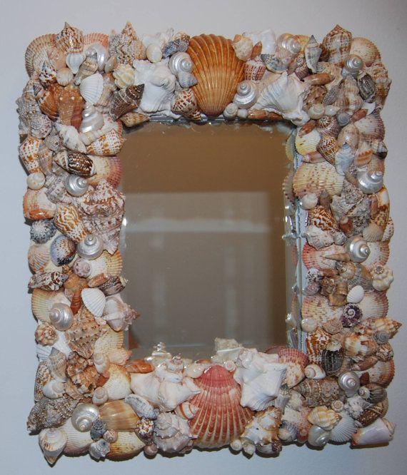 Mirror, Sea Shell Mirror, Shell Mirror, Beach Decor Mirror, Cottage Decor Mirror, Vanity Mirror, Wall Decor, Beach Play Mirror