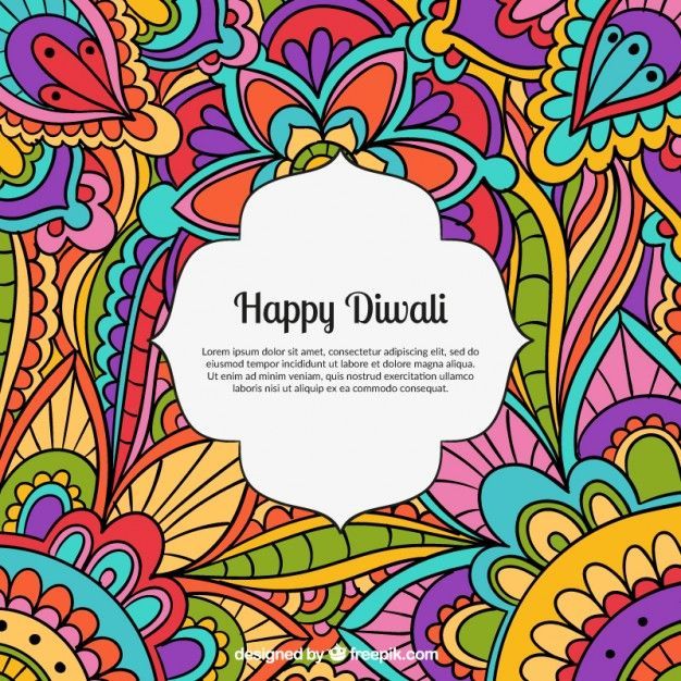 Colored happy diwali background Free Vector