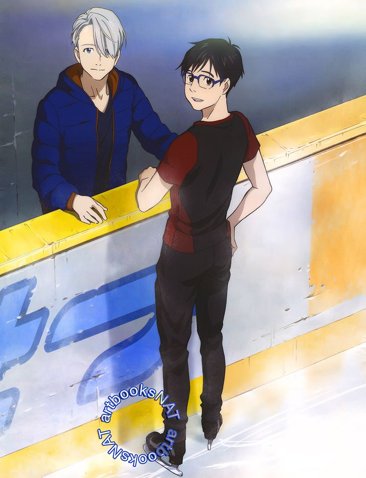 """artbooksnat: """"Yuri!!! on Ice (ユーリ!!! on ICE)Victor coaches Yuri with his game face on in this subdued pin-up for Yuri!!! on Ice in Newtype Magazine, illustrated by key animator Saya Aoi. """""""