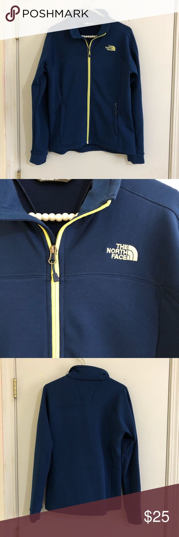 The North Face jacket Navy blue with bright chartreuse accents. Worn and washed only a few times. Still in like new condition! Was purchased at a North Face outlet store. Don't hesitate to ask any questions! The North Face Jackets & Coats Utility Jackets