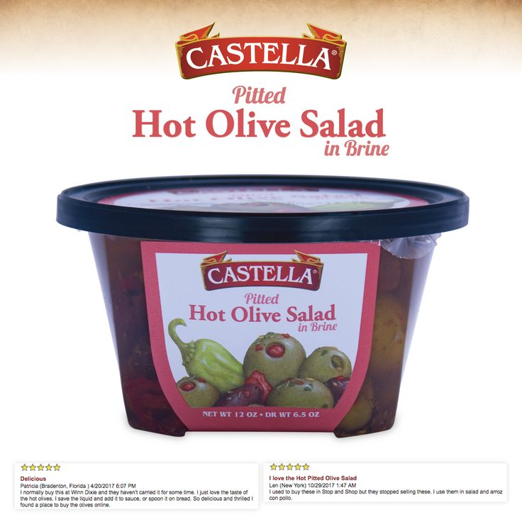 Castella's Hot Pitted Olive Salad is a spicy medley of green and black olives paired with sweet and hot peppers. It is full of flavor with a bold bite of heat. This favorite gourmet-to-go deli cup is manufactured right in our facility and is made with our custom blend of spices! The hot & spicy flavor of Castella's Hot Pitted Olive Salad is a customer favorite and one you definitely do not want to miss!