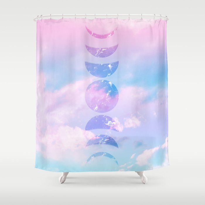 Unicorn Pastel Clouds Moon Phases 1 Decor Art Society6 Shower Curtain By Anitabellajantzart Society6