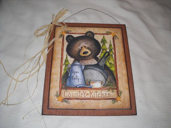Bear Country Kitchen Wooden Wall Art Sign Lodge Cabin Lake Decor On Etsy,  $9.99