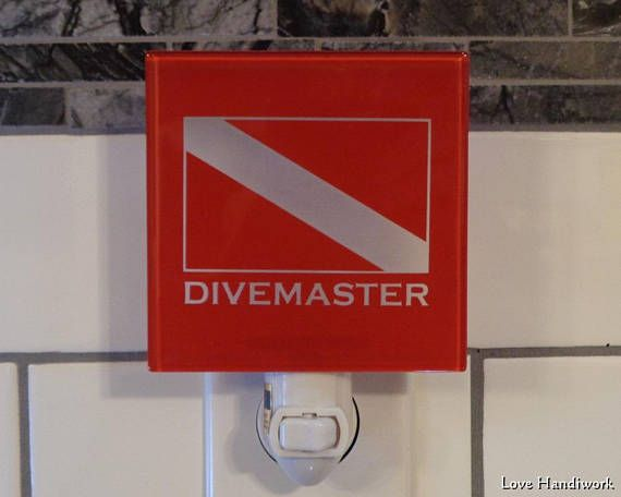 Etched Glass Wall Tile Nightlight  DIVEMASTER Scuba Dive Flag