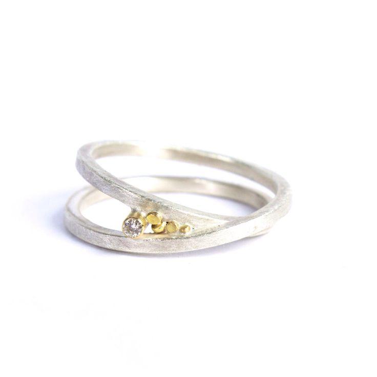 Silver & 18ct Yellow Gold Speckle Infinity Ring with White Diamond by Rachel Jones www.rachel-jones.com