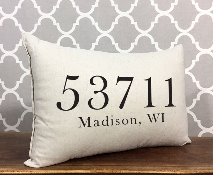 Personalized Zip Code Pillow, Custom Zip Code City & State, Housewarming Gift, Personalized Pillow, Gift For New Home, Home Decor Pillow by DolceHome on Etsy https://www.etsy.com/listing/195760353/personalized-zip-code-pillow-custom-zip