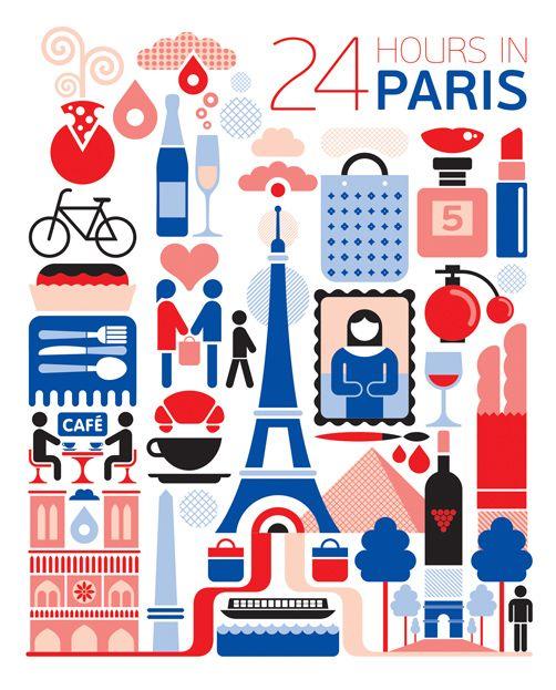 24 hours in Paris, France. Illustration by Fernando Volken Togni