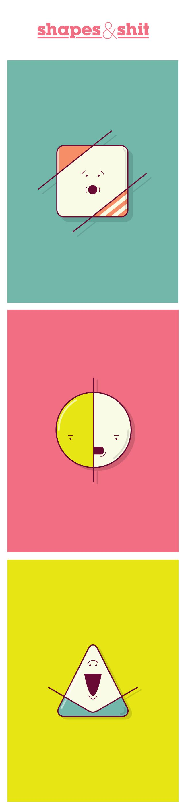 A few shapely friends. shapes, illustration, vector, design, cartoon, character