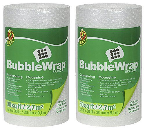 Duck Brand Bubble Wrap Original Protective Packaging KxSzV 2Pack 12 in. x 30 ft.