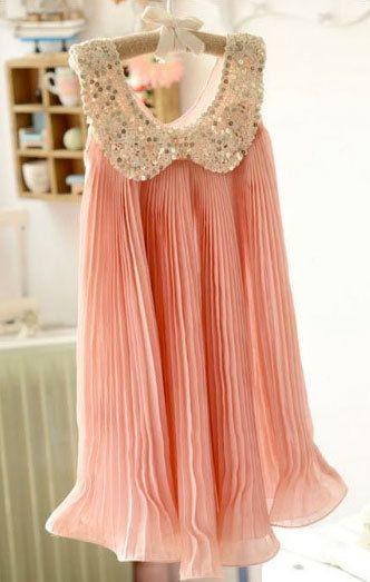 Flower Girl Dress Girls Vintage Peach Dress