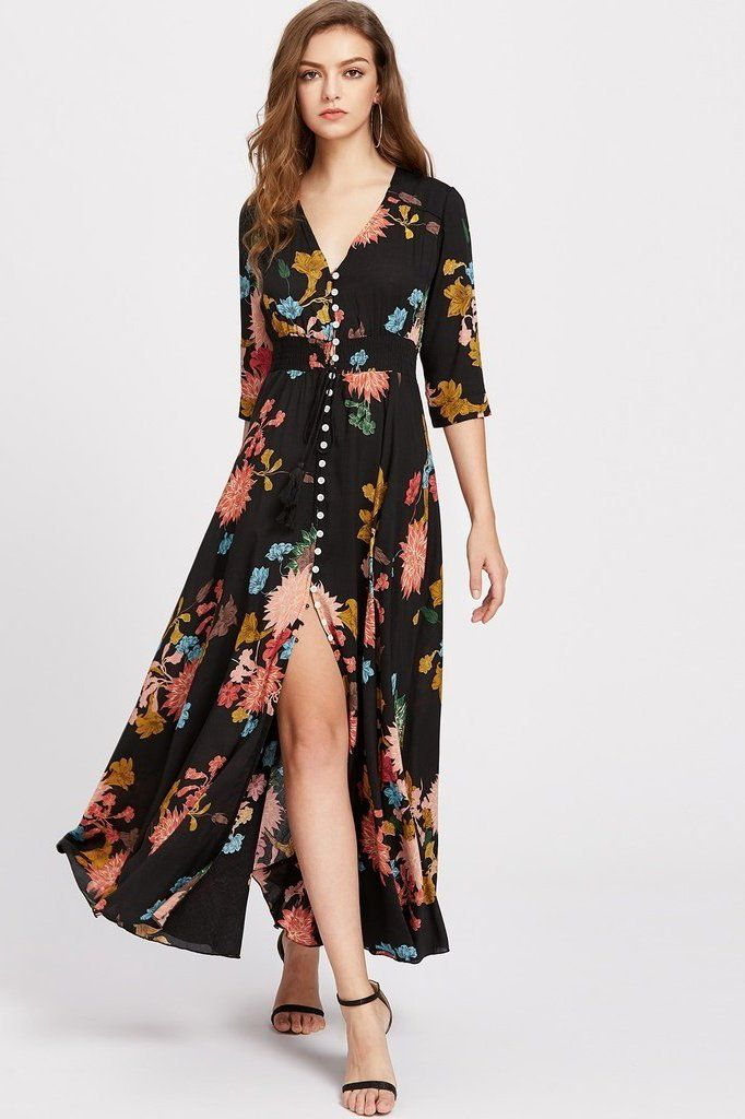 36c1382ef7252 Floral Springs Maxi Dress in 2019 | Crafts | Button up maxi dress ...