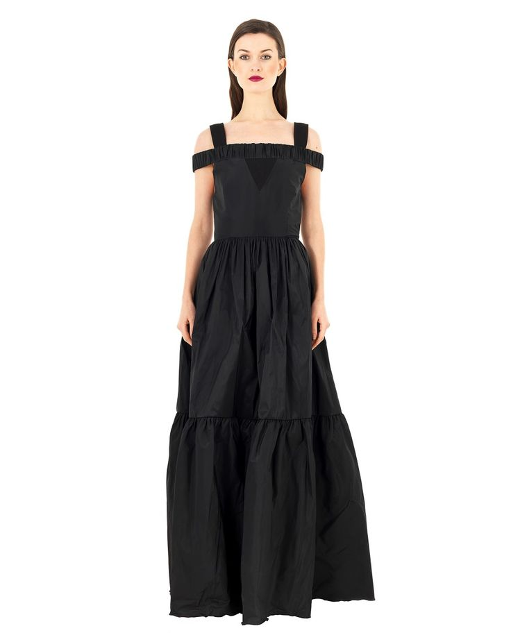 DOMENICO CIOFFI LONG DRESS WITH PLEATED SKIRT S/S 2016 Black long dress  wide pleated knee lenght skirt large straps  curled shoulder lenght band seam on the waist length back closure with zipper  75%AC 25%PL